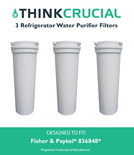 3 Fisher & Paykel, Part # 836848, Premium Filtration, Refrigerator Water Purifier Filter, Fits E402B, E442B, E522B & RF90A180DU, by Think Crucial