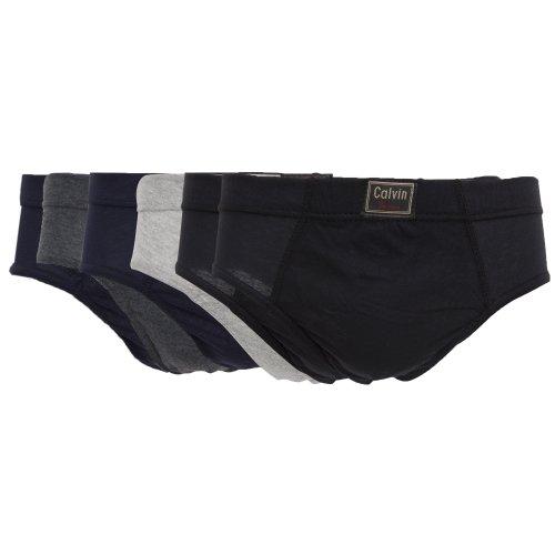 Mens Underwear Hipster Cotton Briefs (Pack of 6) (M Waist 33-35inch (84-89cm)) (Black/Navy/Grey)