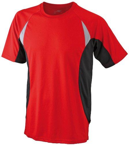 James & Nicholson - T-Shirt Running T, Maglia a maniche lunghe Uomo, Rosso (red/black), Large (Taglia Produttore: Large)