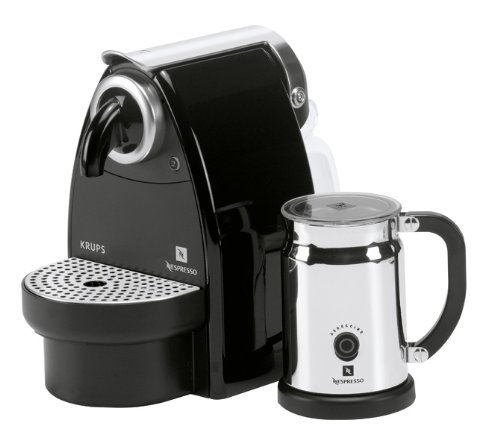 Nespresso Essenza Auto by Krups XN2120AP Coffee Machine Bundle with Aeroccino, Black