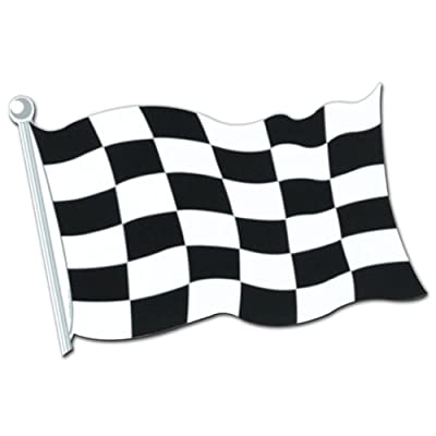 Beistle 55855-18 24-Pack Checkered Flag Cutouts, 18-Inch