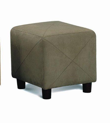 Coaster Modern Cube Microfiber Footstool/Ottoman, Green