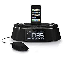 iLuv Vibe Plus Bed Shaker Dual Alarm Clock Dock for iPhone and iPod, (Black)