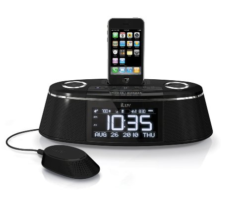 iLuv IMM178 Vibe Plus Dual Alarm Clock with Bed Shaker for iPod and iPhone (Black)