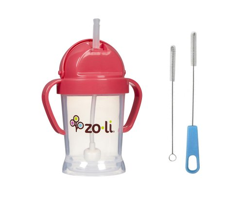 Zoli Bot Straw Sippy Cup with Sippy Cup Cleaner - Pink - 1