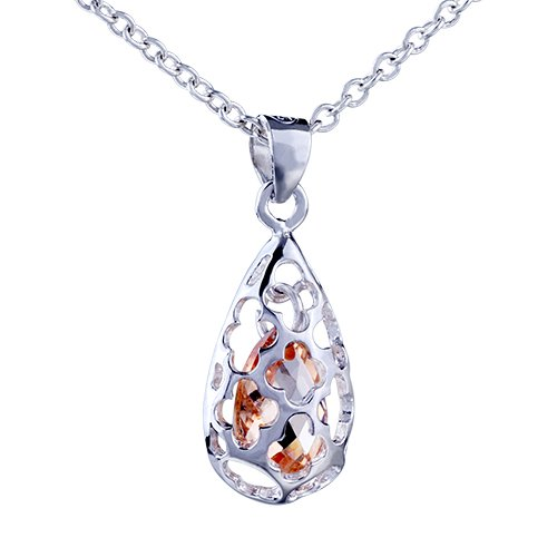 June Crystal Flower Pendant Necklace Valentines Day Gifts Jewelry