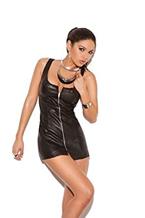 Sexy Leather Zip up Front Mini Dress-black-Small