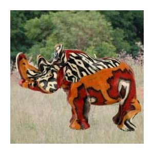 Imported African Handmade Rhino Safari Animal Candle, medium