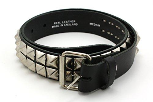 Cintura con borchie piramidali, cintura in vera pelle di colore nero, M/L
