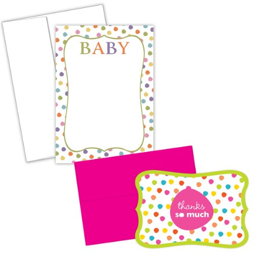 Hortense B. Hewitt 20/24 Count Baby Dots Invitation And Thank You Note Card Kit front-331051