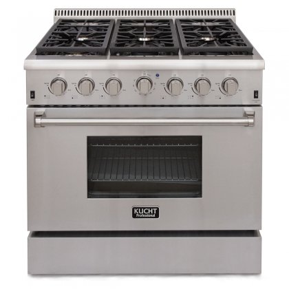 Kucht-KRG3618U-36-Professional-Class-Gas-Range-Convection-Oven-6-Top-Burners-Blue-Porcelain-Interior-in-Stainless-Steel-Natural-Gas