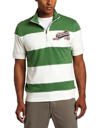 Generra Men's Jersey Zip Rugby Tee, New Green Combo, XX-Large