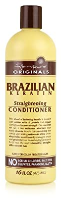 Renpure Originals Brazilian Keratin Straightening Conditioner, 16 Ounce