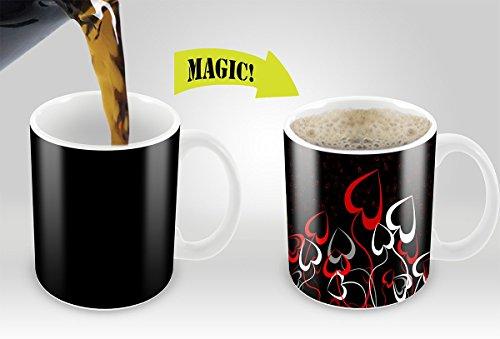 Magic Coffee Mugs Heat Sensitive Color Changing Coffee Mug Good Gift Mug Flowery Hearts 11oz 100% Ceramic Mug