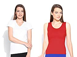 Happy Hippie Women's Combo T-shirt OffWhite-Red