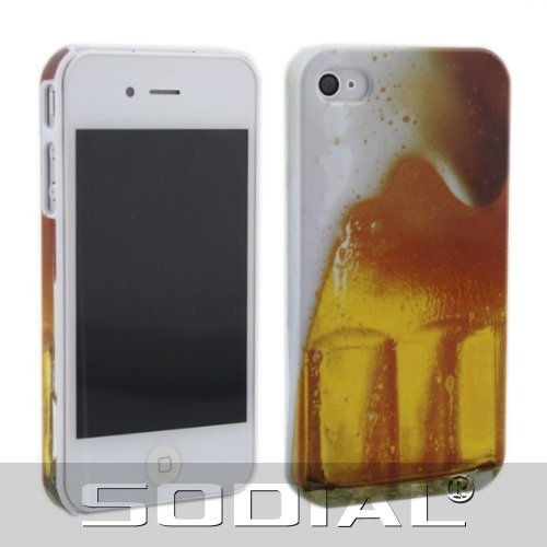 SODIAL(R) Gold Mug Alcohol Beverage Beer Cold Drink Cup Hard Cover Case for iPhone 4 4S 4G