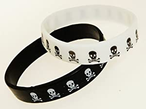 Set of 2 Pirate Rubber Bracelets - One White & One Black - Not Suitable For Children Under 36 Months Old