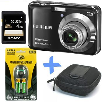 Bundle: Fuji AX650 Digital Camera in Black + 4GB +Case +JCB NiMh Rechargeable Batteries & Charger (Fujifilm Finepix AX650 Black, 16MP, 5xOptical Zoom, 2.7