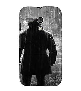 PrintVisa Man Rain BW Design 3D Hard Polycarbonate Designer Back Case Cover for Motorola Moto G