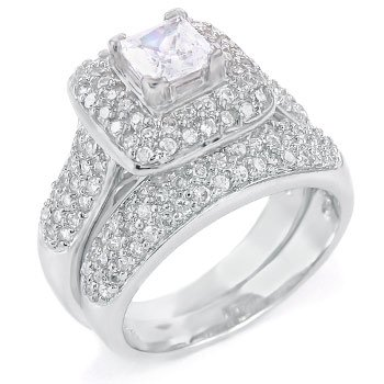 Sterling Silver Cubic Zirconia CZ Victorian Wedding Engagement Ring Set Sz 10