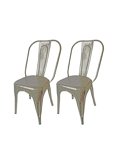 Melange Home Set of 2 Vintage Painted Chairs, Aluminium