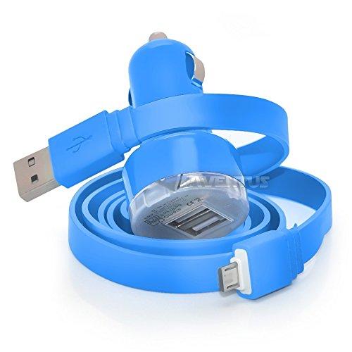 Aventus ZTE Avid Plus Baby Blu Doppia Porta USB Mini Caricatore Accendisigari per Auto, Compreso 1 micro USB di Trasferimento Dati / Cavo di Ricarica