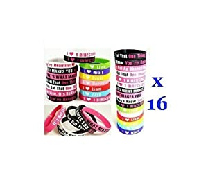 All 16 Pcs I Love 1d ONE Direction Bracelet Silicone Wristband Band so in Love Heart from azmm