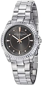 Stuhrling Original Women's 408L.121154 Aquadiver Regatta Lady Marine Swiss Quartz Grey Dial Stainless Steel Bracelet Watch