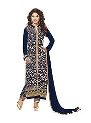 Fashion Storey Straight Cut Long Blue Georgette Salwar Suit