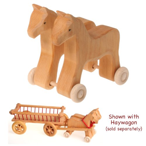 Grimm's Pretend Play Team of Horses on Wheels in Natural Wood - 1