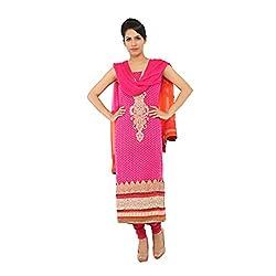 Nirali Women's Georgette Salwar Kameez UnStiched Dress Material - Free Size (Pink)