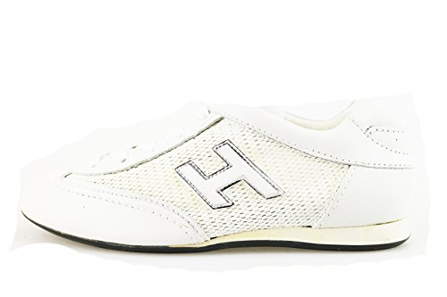 HOGAN 33 EU sneakers bambina bianco pelle tessuto AH928