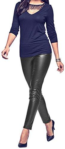 stretch-faux-active-tights-leggings-for-women-girls-juniors-pants-medium-black
