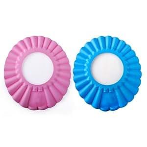 2 pcs of baby shower cap shampoo visor a pink a blue