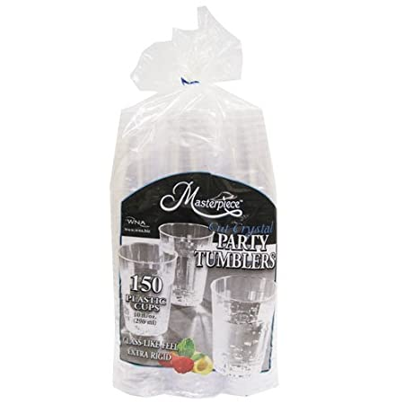 WNA Masterpiece 557405 Crystal Cut Party Tumblers 10oz Plastic Cups 150