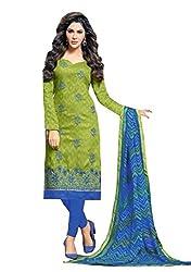 Fabvila Graceful apple green chanderi cotton embroidered unstitched Salwar Kameez
