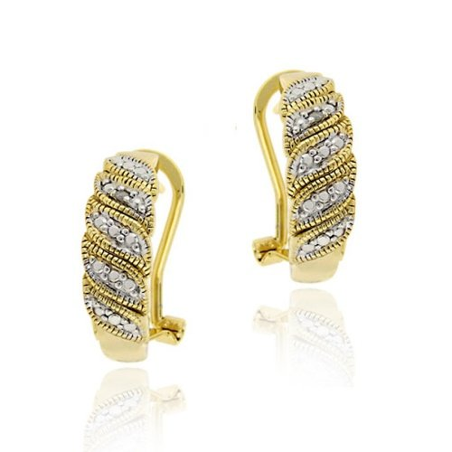 18K Gold over Sterling Silver Diamond Accent Leaf Design Hoop Earrings
