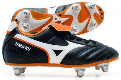 Timaru Kids SG Rugby Boots Black/White/Autumn Glory