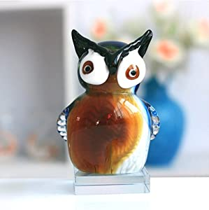 "Large 6.7"" Tall Murano Art Masterpiece Glass Owl Sculpture Collection-Ancient Symbol of The Greek Goddess Athena, The Owl Has Always Been Emblem of Wisdom and Good Luck, and For This Reason its Portrayals Are Highly Sought-After by Collectors. ..."