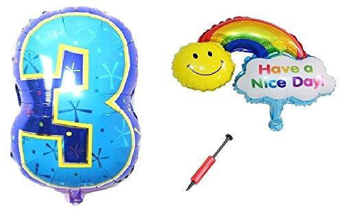 バルーンギフト 選べる数字 バルーン & レインボー 風船 (空気入れ付属) 誕生日 記念日 開業祝い などの 飾り付け 演出 (3 & レインボー)