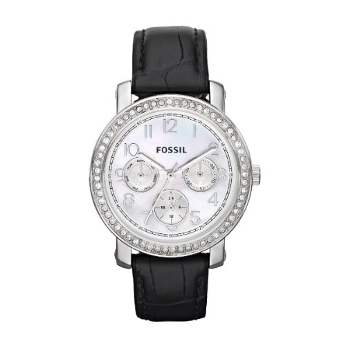 Fossil Ladies Boyfriend Watch ES2969 With White Mother Of Pearl Dial, Stainless Steel Case And Black Leather Strap