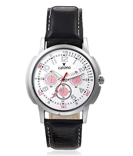 Calvino Calvino Men's White Dial Watch CGAS-1412118_BLK-WHTRED