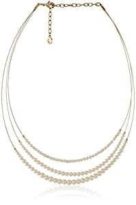 """Anne Klein Gold Tone and Pearl Wire Coil Necklace, 18"""""""