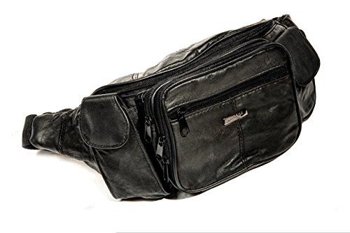 Lorenz - Marsupio extra-large organizer porta documenti da viaggio - In pelle nappa nera