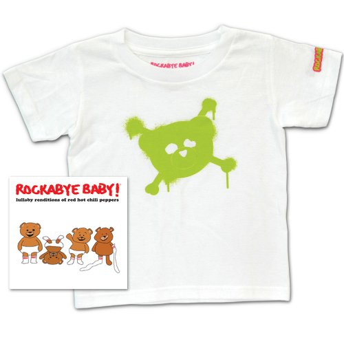 Rockabye Baby Lullaby Renditions of Red Hot Chili Peppers Rockabye Baby 100 Organic Cotton Toddler T Shirt White Green