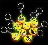 12 PCS Light-Up Emoji Keychains Emoticon Flashing LED Emotions Favors Key Chains, New