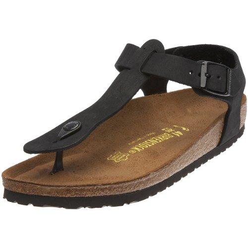 Birkenstock Kairo Nubuck Leather, Style-No. 47103, Unisex Thong Sandals, Jet Black, EU 40, slim width
