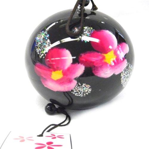BestOfferBuy Japanese Hand Painted Pink Ginka Flower Black Glass Wind Chime Edo Furin