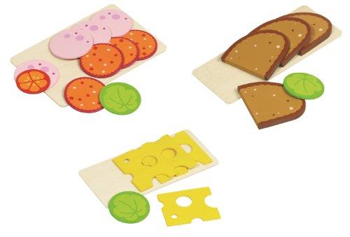 Goki Brot Wurst und Käse aus Holz für Kaufladen