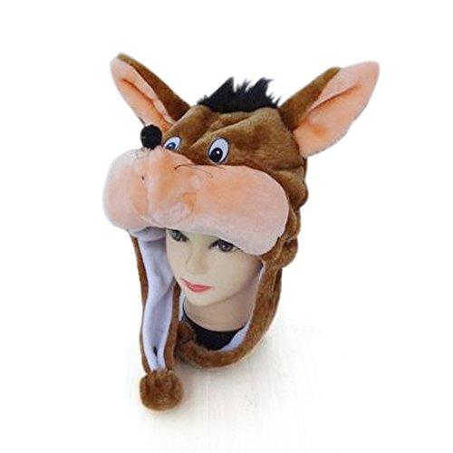 TopTie Weichtier Hut mit Ohrenklappen, Pelztier Hood Cap - braun-Maus